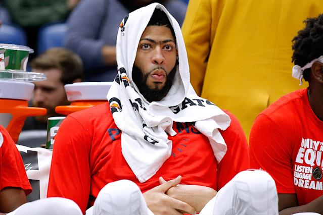 Anthony Davis' three points on Tuesday was his lowest scoring output in any game he played at least 20 minutes. (Photo by Jonathan Bachman/Getty Images)