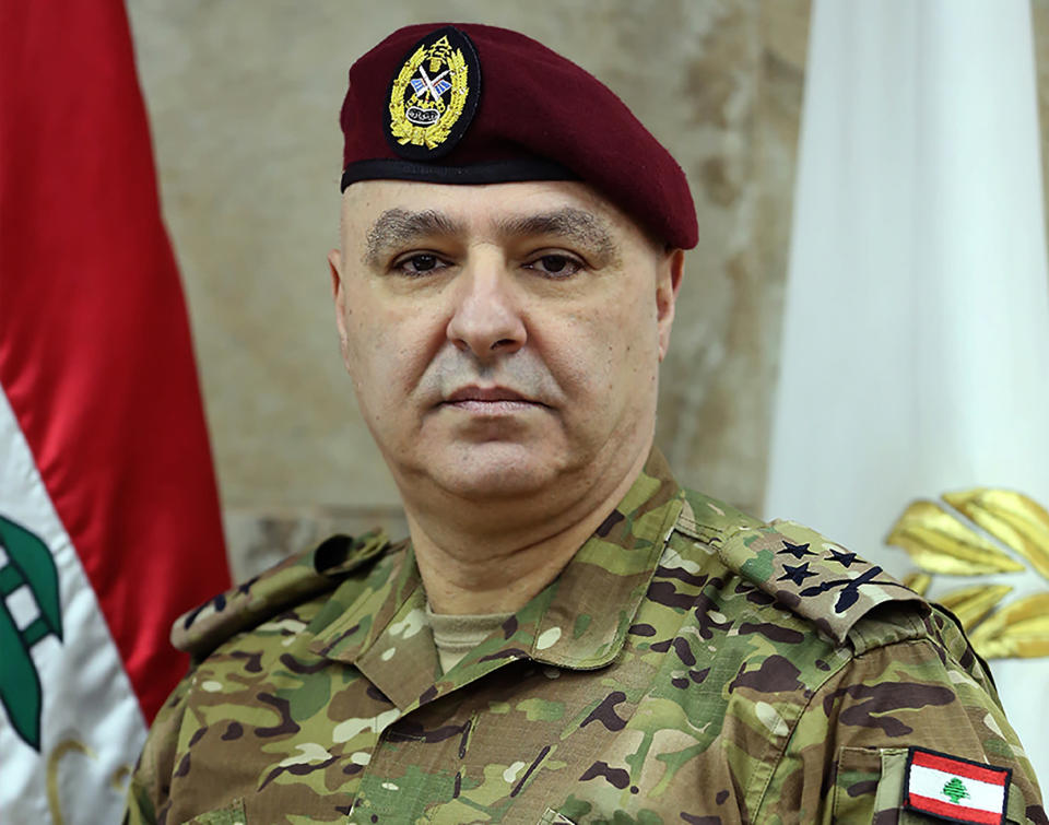 In this undated photo released by the Lebanese Army official website, Lebanese Army Commander Gen. Joseph Aoun poses for a picture, in Beirut, Lebanon. The currency collapse has wiped out the salaries of the U.S.-backed Lebanese military, placed unprecedented pressure on the army's operational capabilities with some of the highest attrition rates over the past two years, and raised concerns about its ability to continue playing a stabilizing role while sectarian tensions and crime are on the rise.(Lebanese Army Website via AP)