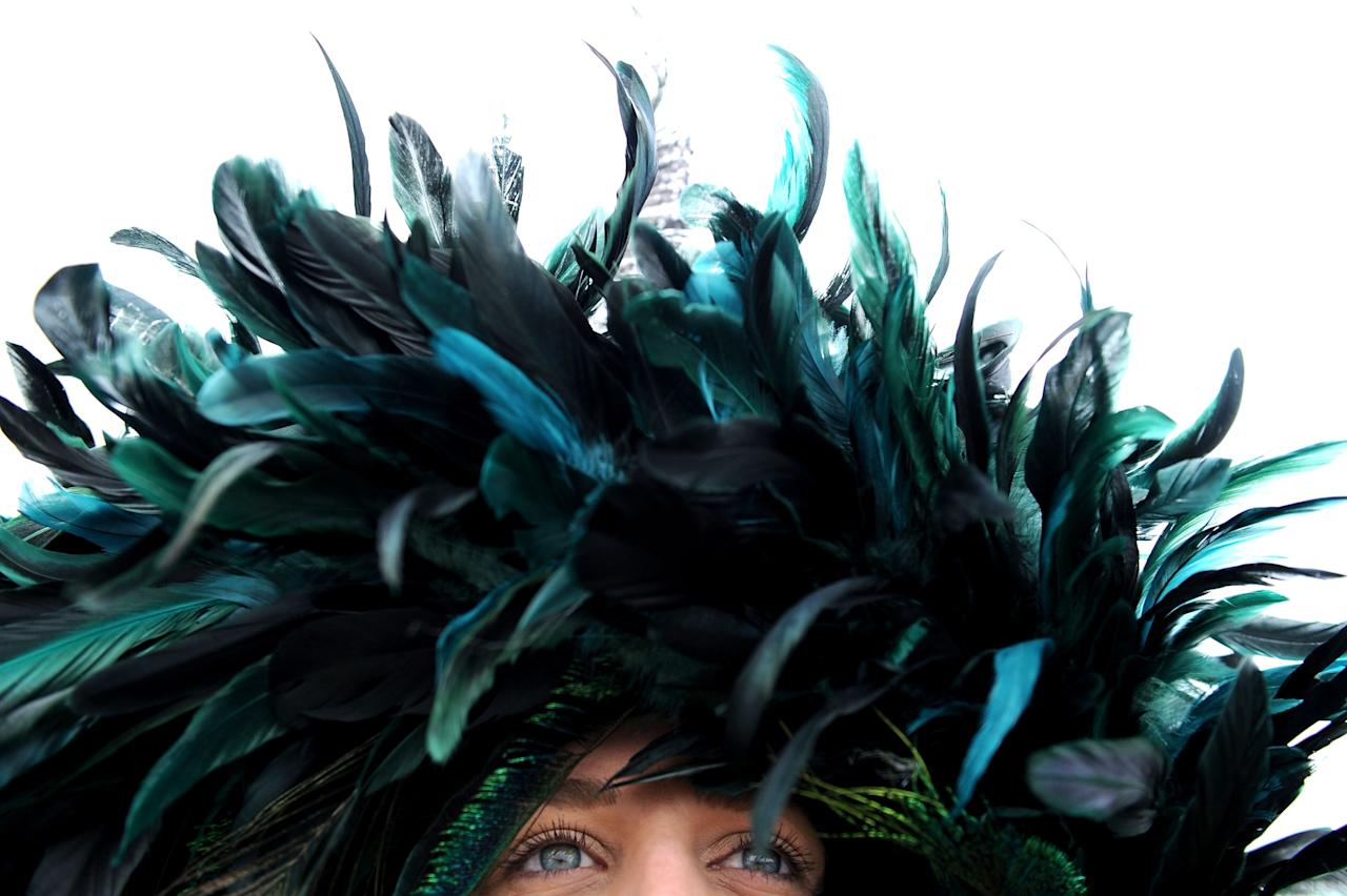 BALTIMORE, MD - MAY 18:  A detailed view of a feathered hat on a race fan in the infield prior to the 138th running of the Preakness Stakes at Pimlico Race Course on May 18, 2013 in Baltimore, Maryland.  (Photo by Patrick Smith/Getty Images)
