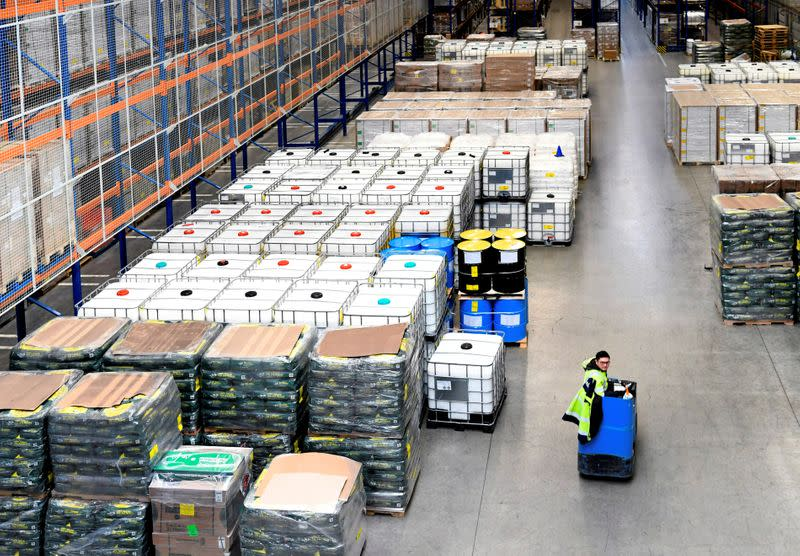 FILE PHOTO: Stockpiling ahead of Brexit is seen in a warehouse in Rotterdam