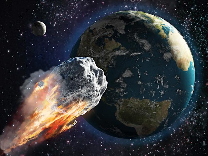 Burning asteroid moving through the Earth. Digital illustration.