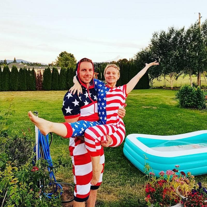 """<p>Why are we not surprised that Dax Shepard and Kristen Bell have star-spangled onesies? The couple celebrated the holiday in Washington with an inflatable pool, naturally. """"On behalf of Mt Hood, KB and myself, Happy 4th of July!"""" Shepard shared. (Photo: <a rel=""""nofollow noopener"""" href=""""https://www.instagram.com/p/BWIOO3IDrZC/?taken-by=daxshepard&hl=en"""" target=""""_blank"""" data-ylk=""""slk:Kristen Bell via Instagram"""" class=""""link rapid-noclick-resp"""">Kristen Bell via Instagram</a>) </p>"""