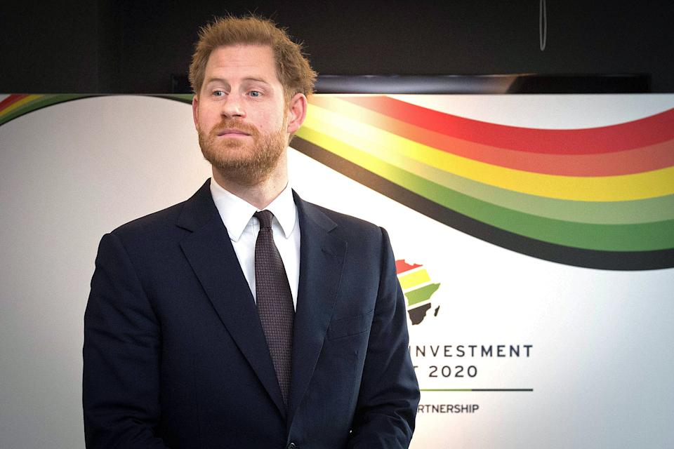 Britain's Prince Harry, Duke of Sussex, reacts as he waits to greet a guest during the UK-Africa Investment Summit in London on January 20, 2020. (Photo by Stefan Rousseau / POOL / AFP) (Photo by STEFAN ROUSSEAU/POOL/AFP via Getty Images)