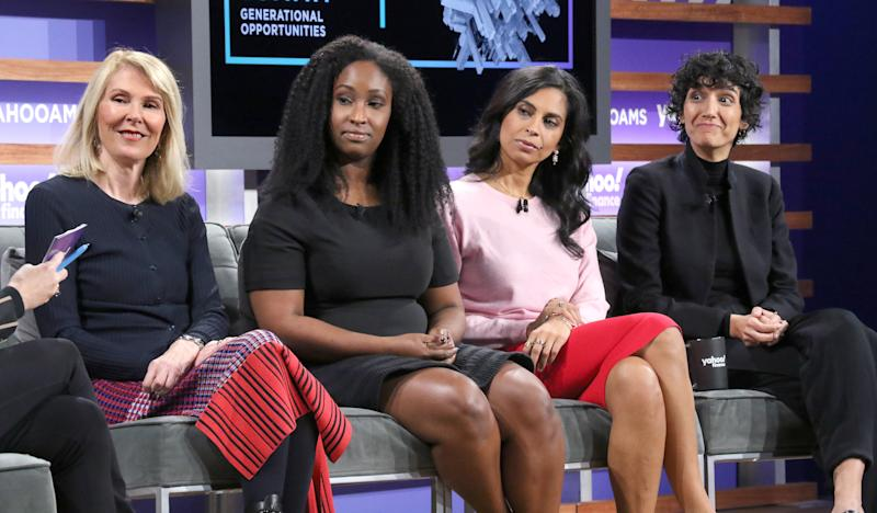 NEW YORK, NEW YORK - OCTOBER 10: (L-R) Susan Lyne, KJ Miller, Anu Duggal and Banu Guler attend the Yahoo Finance All Markets Summit at Union West Events on October 10, 2019 in New York City. (Photo by Jim Spellman/Getty Images)