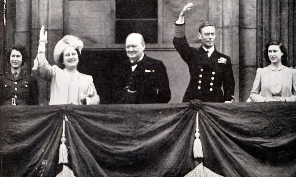 <p>To celebrate the ally victory on V-E Day, Queen Elizabeth, King George VI, and their daughters joined Britain's Prime Minister, Winston Churchill, on the Buckingham Palace balcony. </p>