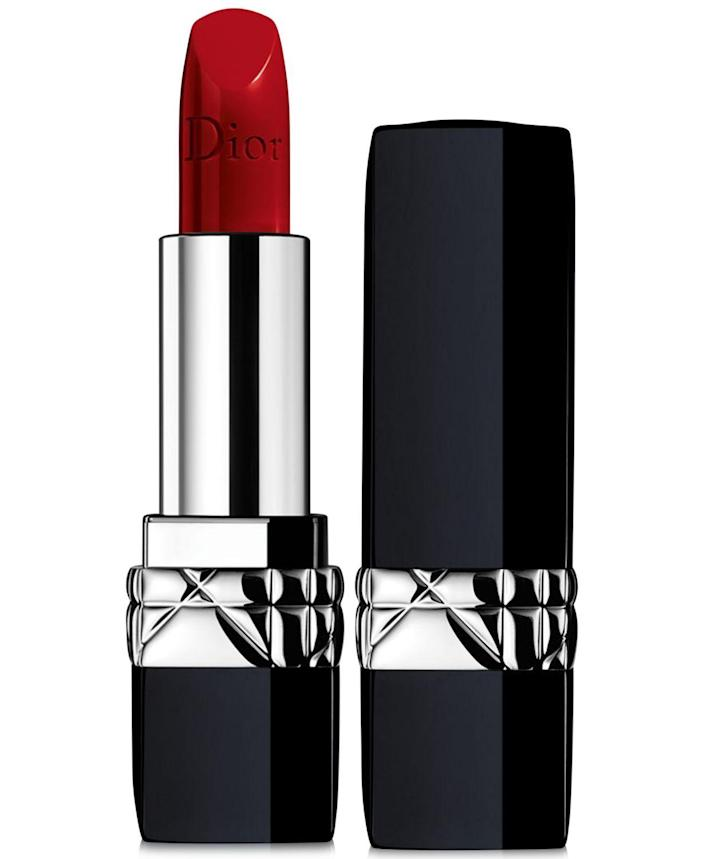 """<p><strong>Dior Beauty</strong></p><p>macys.com</p><p><strong>$38.00</strong></p><p><a href=""""https://go.redirectingat.com?id=74968X1596630&url=https%3A%2F%2Fwww.macys.com%2Fshop%2Fproduct%2Fdior-rouge-dior-lipstick-satin-finish%3FID%3D2926085&sref=https%3A%2F%2Fwww.harpersbazaar.com%2Fbeauty%2Fmakeup%2Fg895%2Fbest-red-lipstick%2F"""" rel=""""nofollow noopener"""" target=""""_blank"""" data-ylk=""""slk:Shop Now"""" class=""""link rapid-noclick-resp"""">Shop Now</a></p><p>Dior's iconic 999 shade has had its fair share of celebrity fans over the years. It helps that it looks just as beautiful on every single skin tone.</p>"""