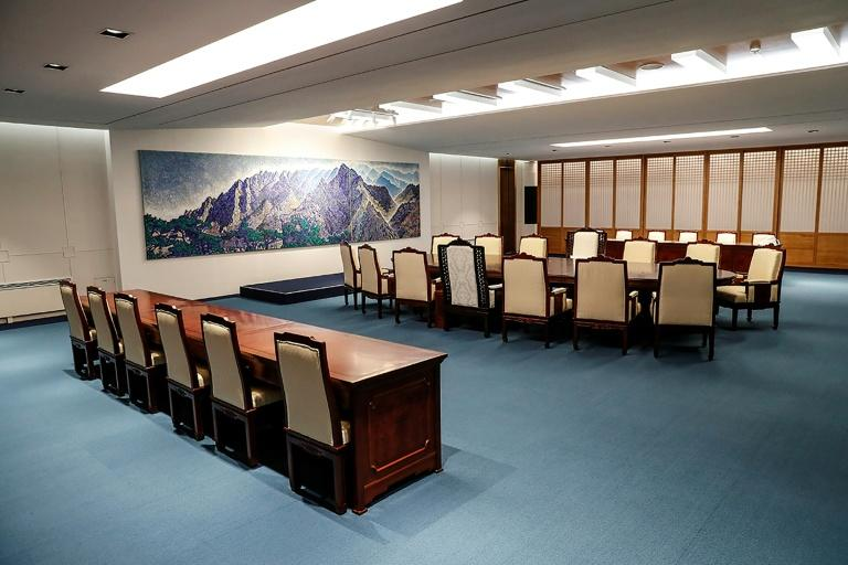 The meeting room for the upcoming inter-Korean summit at the border truce village of Panmunjom in the Demilitarized zone