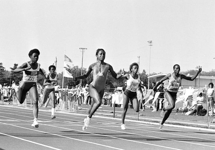 American record holder Evelyn Ashford, second from right, leads the field to a wind-aided record of 10.85 in the 100-meter dash at the Modesto Invitational track and field competition in Modesto, Calif., May 14, 1983. World record for the distance is 10.88. At left is Chandra Cheeseborough, who placed second. At right is third place winner Jennifer Innis, and second from left is Alice Brown in lane 3. (AP Photo/Sal Veder)