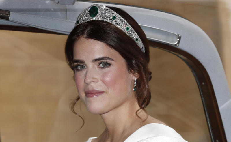 Princess Eugenie in her wedding dress and tiara
