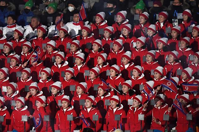 <p>North Korean spectators attend the Opening Ceremony of the PyeongChang 2018 Winter Olympic Games at PyeongChang Olympic Stadium on February 9, 2018 in Pyeongchang-gun, South Korea. (Photo by Harry How/Bongarts/Getty Images) </p>