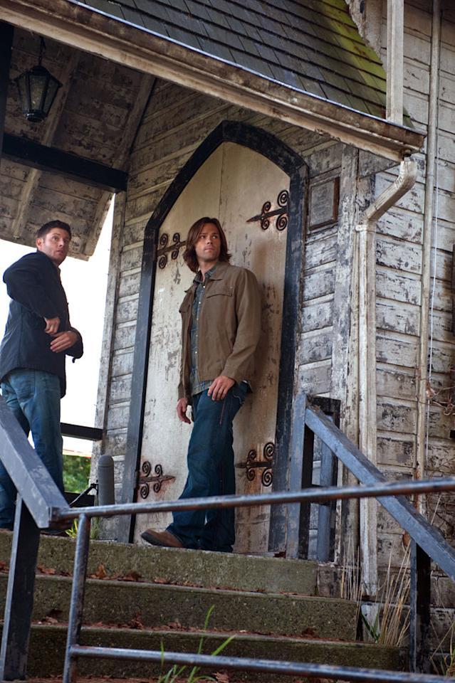 "Jensen Ackles as Dean and Jared Padalecki as Sam in the ""Supernatural"" Season 8 premiere, ""We Need To Talk About Kevin."""