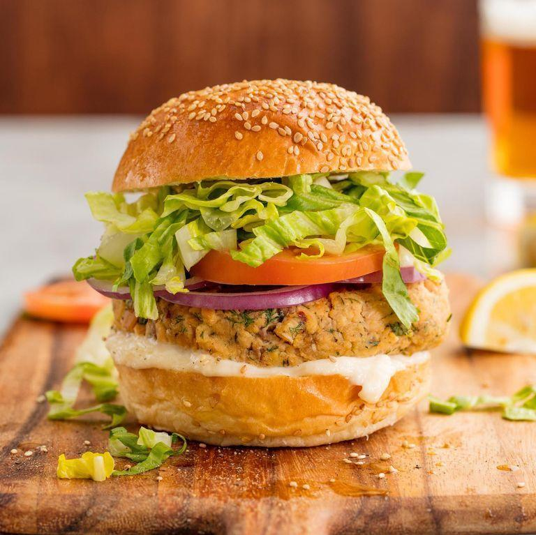 """<p>A <a href=""""https://www.delish.com/uk/cooking/recipes/g30993382/best-burger-recipes/"""" rel=""""nofollow noopener"""" target=""""_blank"""" data-ylk=""""slk:great burger"""" class=""""link rapid-noclick-resp"""">great burger</a> is so much more than just beef, and these 5-star salmon burgers are here to prove it. They're simple, quick, and insanely satisfying. The best part? They come together in 30 minutes, making them the perfect weeknight treat.</p><p>Get the <a href=""""https://www.delish.com/uk/cooking/recipes/a29204817/homemade-salmon-burgers-recipe/"""" rel=""""nofollow noopener"""" target=""""_blank"""" data-ylk=""""slk:Lemon-Dill Salmon Burgers"""" class=""""link rapid-noclick-resp"""">Lemon-Dill Salmon Burgers</a> recipe.</p>"""