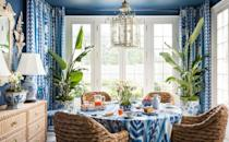 "<p>Lifestyle maven Danielle Rollins loves to spend the holidays at her Palm Beach home, and what better way to ring in the New Year than a sunny brunch with plenty of Champagne? Lush, tropical plants and natural fibers help bring the outdoors in along with the bold blue-and-white fabrics on the table and over the windows. This breakfast room is full of natural light, optimism, and brunch favorites—an ideal start to 2021, if you ask us. </p><p>Discover more beautiful interiors and tablescapes in Rollins's new book, <em><a href=""https://www.amazon.com/Home-All-Seasons-Gracious-Entertaining/dp/0847867161/ref=sr_1_1"" rel=""nofollow noopener"" target=""_blank"" data-ylk=""slk:A Home for All Seasons"" class=""link rapid-noclick-resp"">A Home for All Seasons</a></em>, with a foreward from designer Miles Redd. </p>"