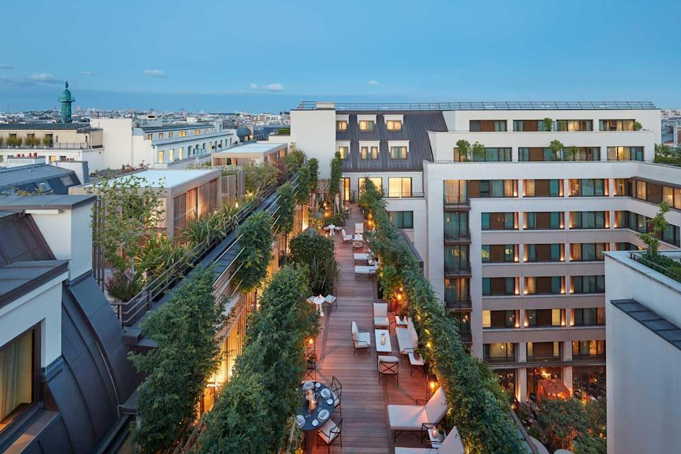Rooftop terrace at the Mandarin Oriental Paris, voted one of the best hotels in the world