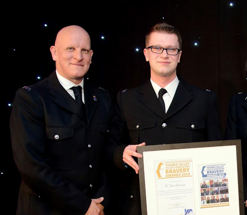 Tom Dorman, right, was severely injured in a 2018 incident. (Thames Valley Police Federation)