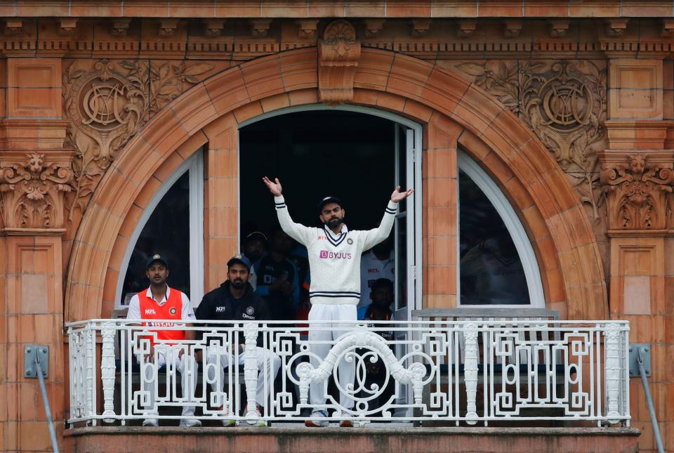 <p>Cricket - Second Test - England v India - Lord's Cricket Ground, London, Britain - August 16, 2021 India's Virat Kohli signals for India to declare Action Images via Reuters/Paul Childs</p>