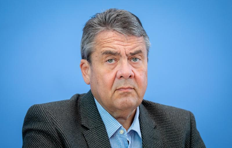 "07 May 2019, Berlin: Sigmar Gabriel (SPD), former Federal Minister, gives a press conference at the Federal Press Conference. The topic was a ""Call for European Elections"" of the German National Foundation. Photo: Kay Nietfeld/dpa (Photo by Kay Nietfeld/picture alliance via Getty Images)"