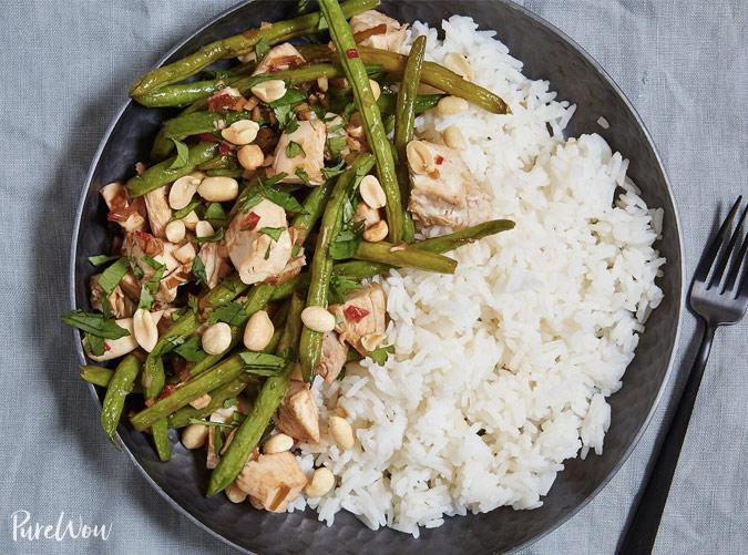 """<p>Spice up your dinner rotation with this Chinese-inspired stir-fry.</p> <p><a class=""""cta-button-link"""" href=""""https://www.purewow.com/recipes/Spicy-Chicken-Stir-Fry"""" target=""""_blank"""">Get the recipe</a></p>"""