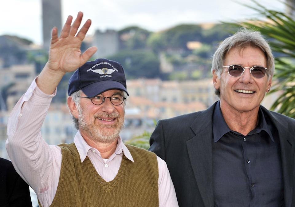 """Steven Spielberg (L) and Harrison Ford in Cannes, May 2008, for """"Indiana Jones and the Crystal Skull"""""""