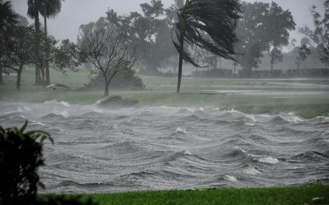 A lake is hit by Hurricane Irma in Pembroke Pines, Florida - Credit: AFP