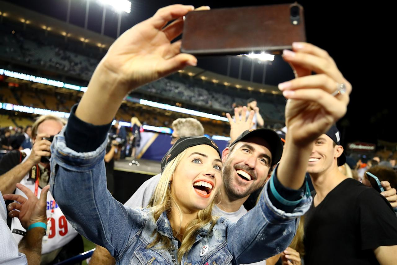 <p>Justin Verlander #35 of the Houston Astros takes a picture with fiancee Kate Upton after the Astros defeated the Los Angeles Dodgers 5-1 in game seven to win the 2017 World Series at Dodger Stadium on November 1, 2017 in Los Angeles, California. (Photo by Ezra Shaw/Getty Images) </p>