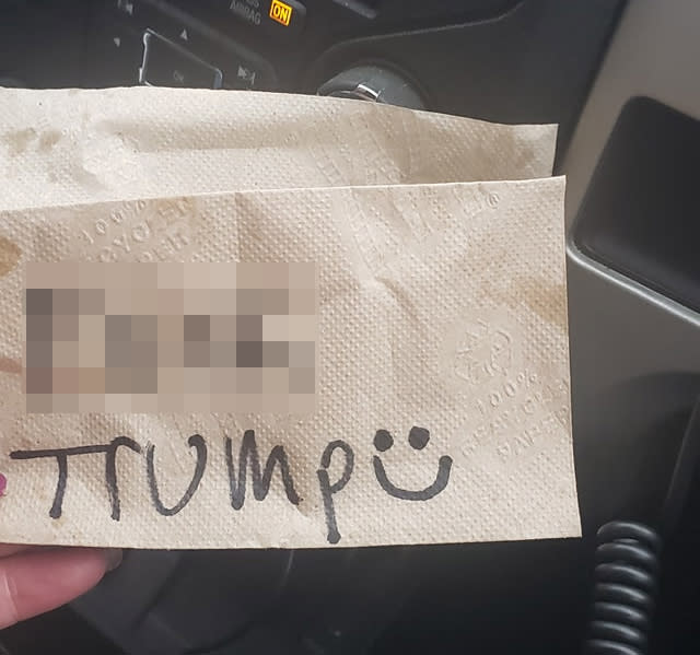"""A McDonald's employee wrote """"F*** Trump"""" on a napkin for a Trump supporter's order. Source: Getty Images"""