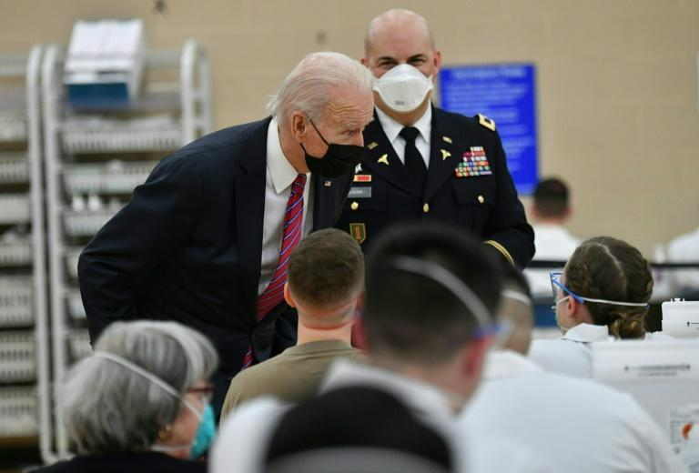 US President Joe Biden visits a Covid-19 vaccine site at Walter Reed National Military Medical Center in Bethesda, Maryland, on January 29, 2021