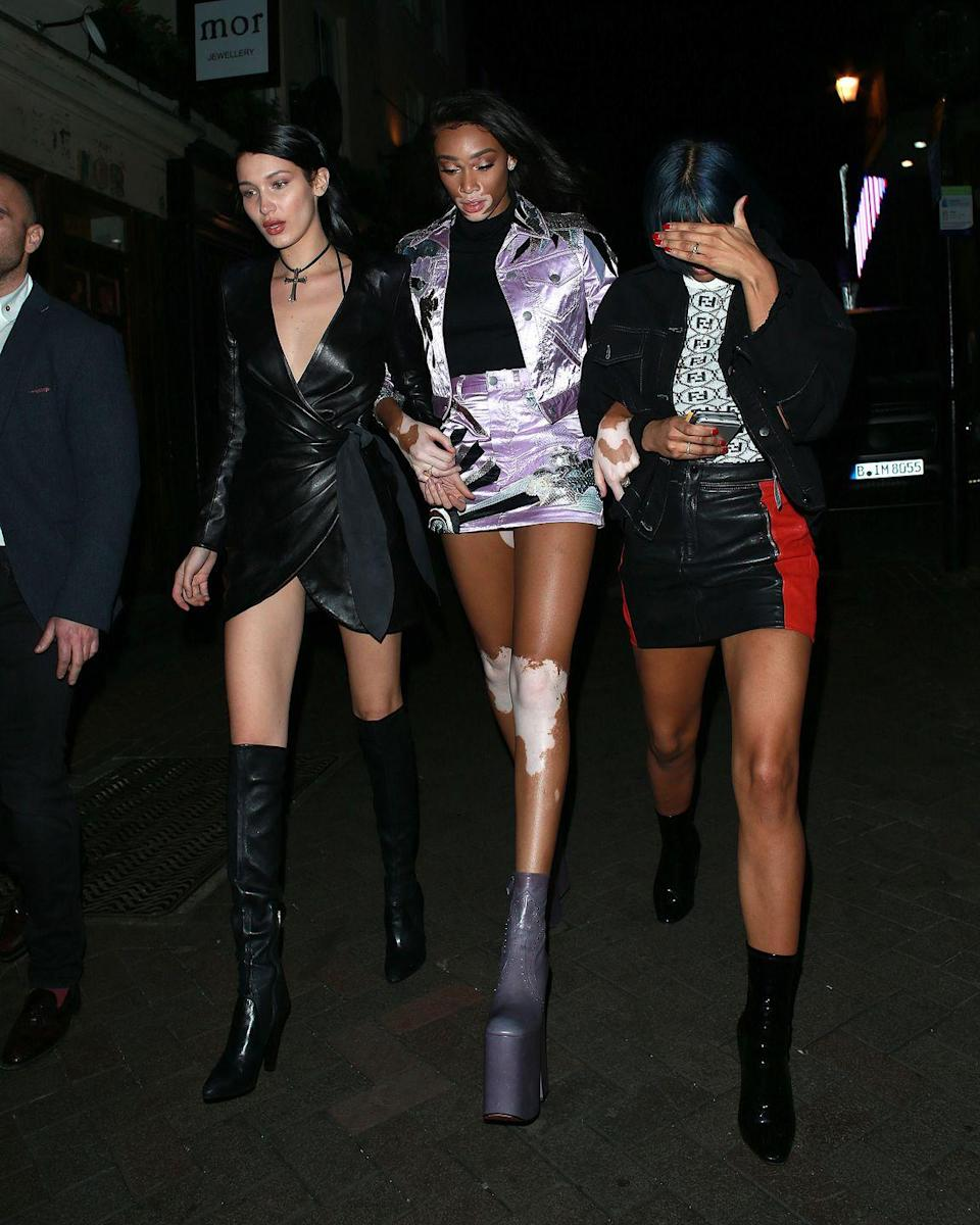 <p>She wasn't alone on her night-time shenanigans, as she later attended a party with Kendall Jenner, but here she is with fellow model Winnie Harlow</p>