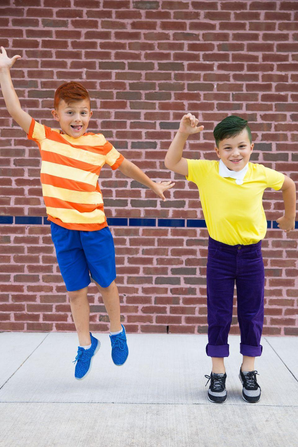 """<p>Halloween doesn't last 104 days (we wish), but with hair dye and colorful costumes, your kids can still get up to some outlandish holiday shenanigans just like Phineas and Ferb.</p><p><a class=""""link rapid-noclick-resp"""" href=""""https://www.amazon.com/LOreal-Paris-Color-Colorista-1-Day/dp/B074K7Z3FN/?tag=syn-yahoo-20&ascsubtag=%5Bartid%7C10055.g.29516206%5Bsrc%7Cyahoo-us"""" rel=""""nofollow noopener"""" target=""""_blank"""" data-ylk=""""slk:SHOP TEMPORARY HAIR DYE"""">SHOP TEMPORARY HAIR DYE</a></p><p><em><a href=""""http://www.taylormadecreates.com/2017/10/phineas-ferb-costume.html"""" rel=""""nofollow noopener"""" target=""""_blank"""" data-ylk=""""slk:Get the tutorial at Taylor Made Creates »"""" class=""""link rapid-noclick-resp"""">Get the tutorial at Taylor Made Creates »</a></em></p>"""