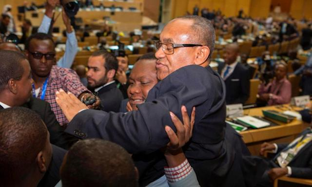 "<span class=""element-image__caption"">Ahmad Ahmad of Madagascar is given a lift after being elected the president of the Confederation of African Football in Addis Ababa on Thursday.</span> <span class=""element-image__credit"">Photograph: Zacharias Abubker/AFP/Getty Images</span>"