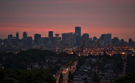 The downtown of Vancouver is pictured at sunset