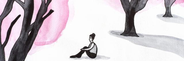 Watercolor illustration of lonely woman in the forest