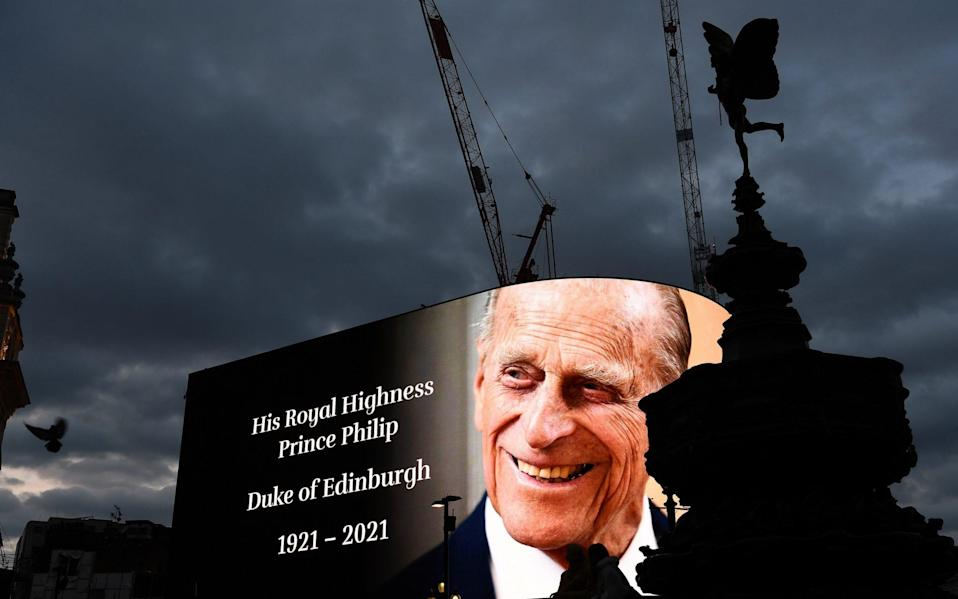A notice of Prince Philip's death is displayed on the large screen at Piccadilly Circus - Jeff Spicer/Getty Images