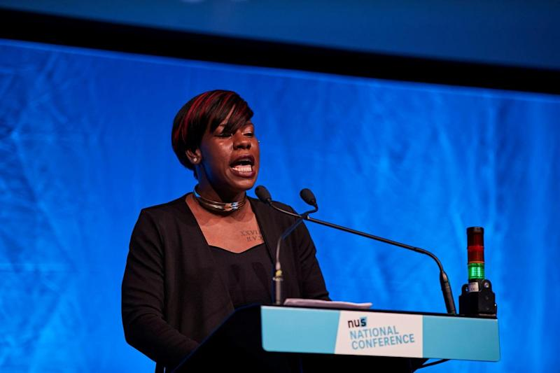 Shakira Martin speaking at an NUS conference (National Union of Students)