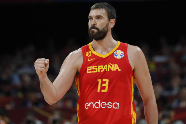 BEIJING, CHINA - SEPTEMBER 15: #13 Marc Gasol of Spain National Team in action against the Spain National Team during the final of 2019 FIBA World Cup at Beijing Wukesong Sport Arena on September 15, 2019 in Beijing, China. (Photo by Fred Lee/Getty Images)