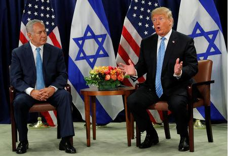 U.S. President Donald Trump speaks during a bilateral meeting with Israeli Prime Minister Benjamin Netanyahu on the sidelines of the 73rd session of the United Nations General Assembly at U.N. headquarters in New York, U.S., September 26, 2018. REUTERS/Carlos Barria