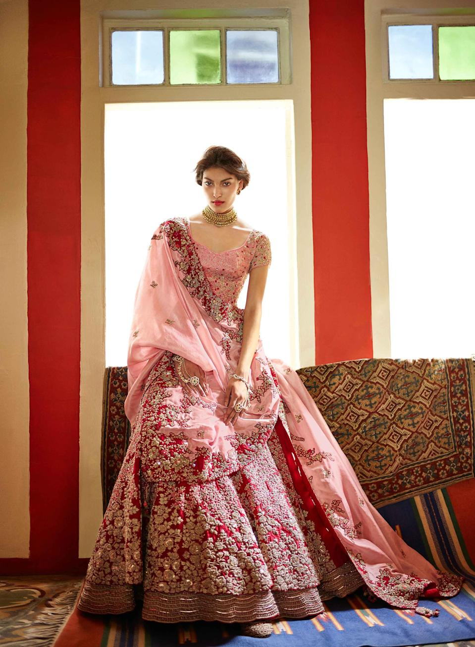 <p>Strong colors like emerald, aubergine and wine are some of the most popular colours that brides are looking at this season, in addition with lovely contrast elements for blouses and dupattas. If you have a destination wedding, then be different and opt for colours like off white, mint green or rose pink to brighten up the celebration overseas. </p>
