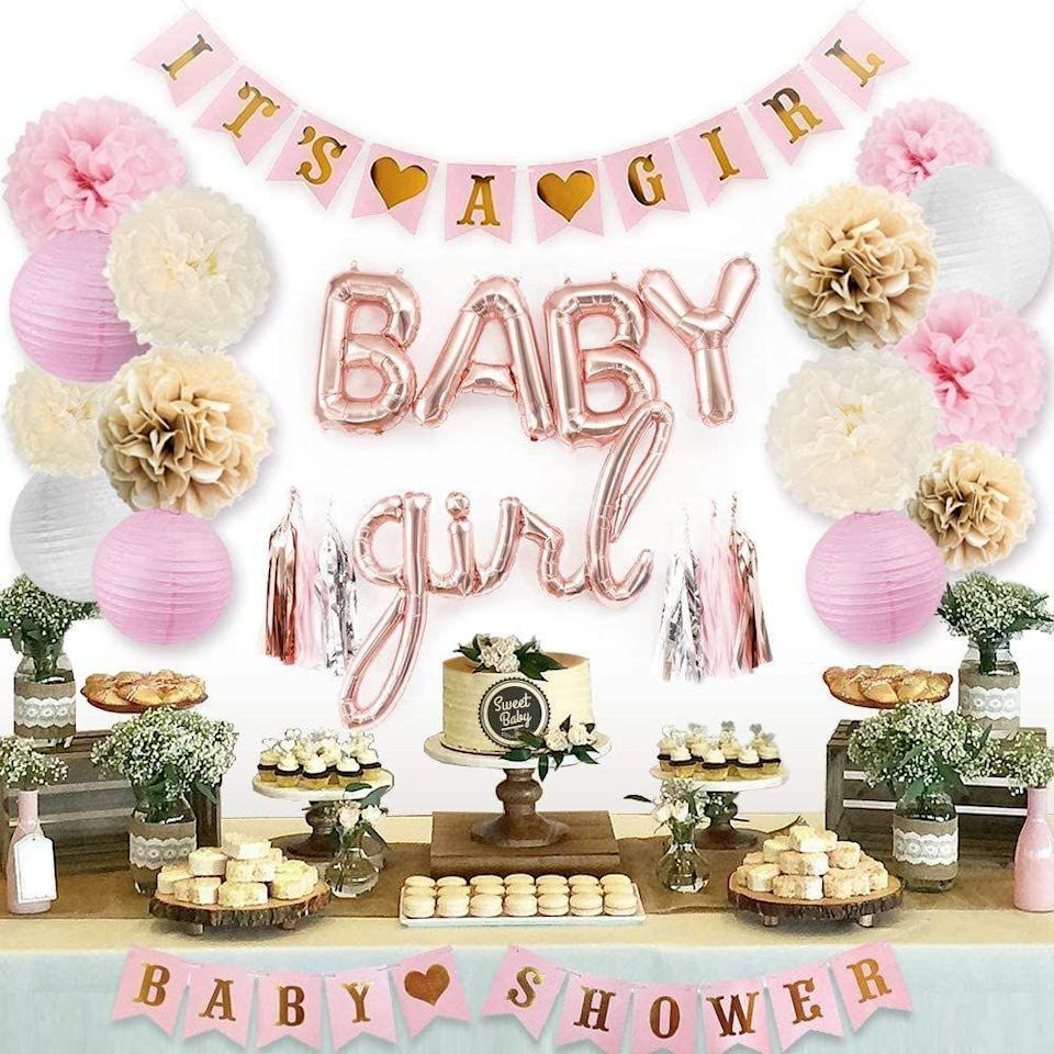 """<p><strong>Sweet Baby Company</strong></p><p>amazon.com</p><p><strong>$21.98</strong></p><p><a href=""""https://www.amazon.com/dp/B07KRW4JKN?tag=syn-yahoo-20&ascsubtag=%5Bartid%7C10070.g.33138311%5Bsrc%7Cyahoo-us"""" rel=""""nofollow noopener"""" target=""""_blank"""" data-ylk=""""slk:Shop Now"""" class=""""link rapid-noclick-resp"""">Shop Now</a></p><p>For the mom-to-be who likes to keep it classic, you can set up these simple-but-beautiful decorations to celebrate their baby's impending arrival. Lay out a table full of pretty-in-pink <a href=""""https://www.delish.com/entertaining/g2403/girl-baby-shower-food/"""" rel=""""nofollow noopener"""" target=""""_blank"""" data-ylk=""""slk:desserts"""" class=""""link rapid-noclick-resp"""">desserts</a> and maybe even some pink lemonade for that extra-special touch. </p>"""