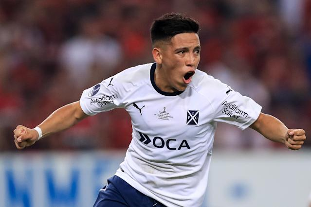 Ezequiel Barco scored for Independiente in the second leg of the 2017 Copa Sudamericana final against Flamengo. (Getty)