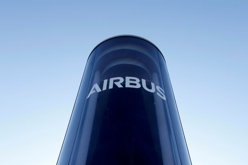 FILE PHOTO: FILE PHOTO: The Airbus logo is pictured at Airbus headquarters in Blagnac near Toulouse