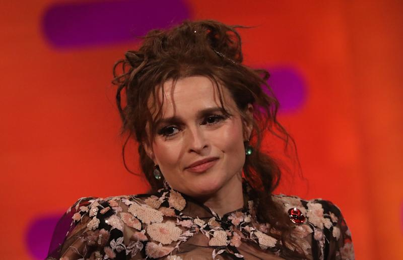Helena Bonham Carter during the filming for the Graham Norton Show at BBC Studioworks 6 Television Centre, Wood Lane, London, to be aired on BBC One on Friday evening. (Photo by Isabel Infantes/PA Images via Getty Images)