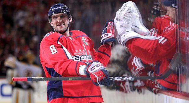 "<a class=""link rapid-noclick-resp"" href=""/nhl/players/3637/"" data-ylk=""slk:Alex Ovechkin"">Alex Ovechkin</a> is taking aim at a seventh Rocket Richard Trophy. (Photo by Patrick Smith/Getty Images)"