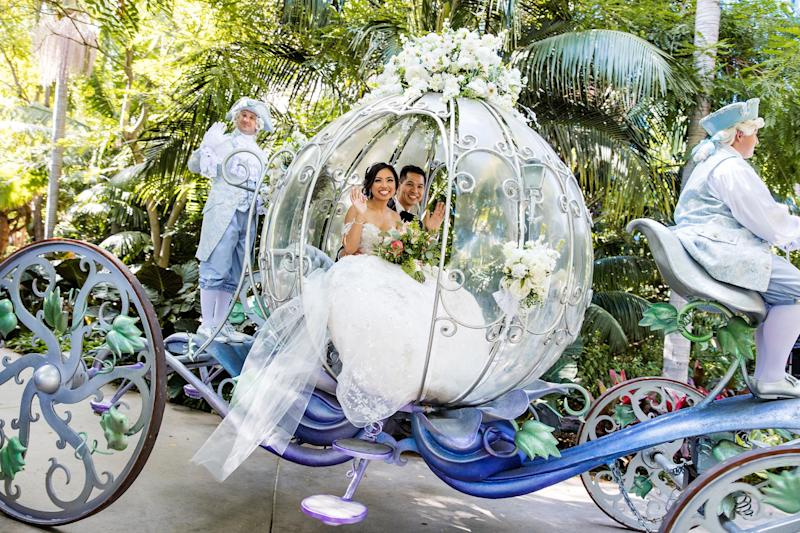 The couple looked like Disney royalty in the Crystal Coach.