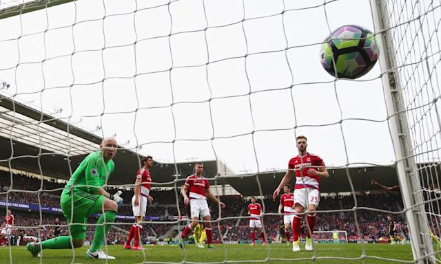 "<span class=""element-image__caption"">Middlesbrough's defence looks on helplessly after Gabriel Jesus, not pictured, scores Manchester City's equaliser to deal a huge blow to the home side's survival hopes.</span> <span class=""element-image__credit"">Photograph: Alex Livesey/Getty Images</span>"