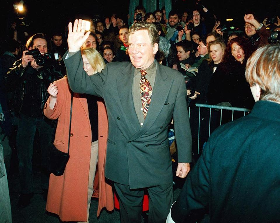 <p>William Shatner at the German premiere; he makes a brief appearance as James Kirk in <i>Star Trek: Generations. </i>This is his final on-screen appearance as Kirk to date, although he would voice the captain in several video games afterwards. <i>(Photo: Ullstein Bild/Getty Images)</i></p>
