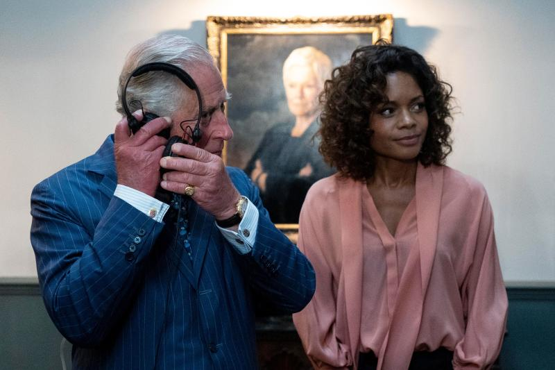 Britain's Prince Charles (L), Prince of Wales meets British actor Naomie Harris as he tours the set of the 25th James Bond Film at Pinewood Studios in Iver Heath, west of London, on June 20, 2019. - The Prince of Wales, Patron, The British Film Institute and Royal Patron, the Intelligence Services toured the set of the 25th James Bond Film to celebrate the contribution the franchise has made to the British film industry. (Photo by Niklas HALLE'N / various sources / AFP) (Photo credit should read NIKLAS HALLE'N/AFP/Getty Images)