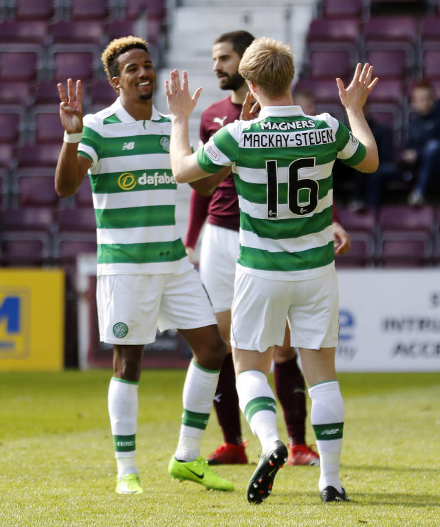 Britain Football Soccer - Heart of Midlothian v Celtic - Scottish Premiership - Tynecastle - 2/4/17 Celtic's Scott Sinclair celebrates scoring their fifth goal from the penalty spot Reuters / Russell Cheyne Livepic