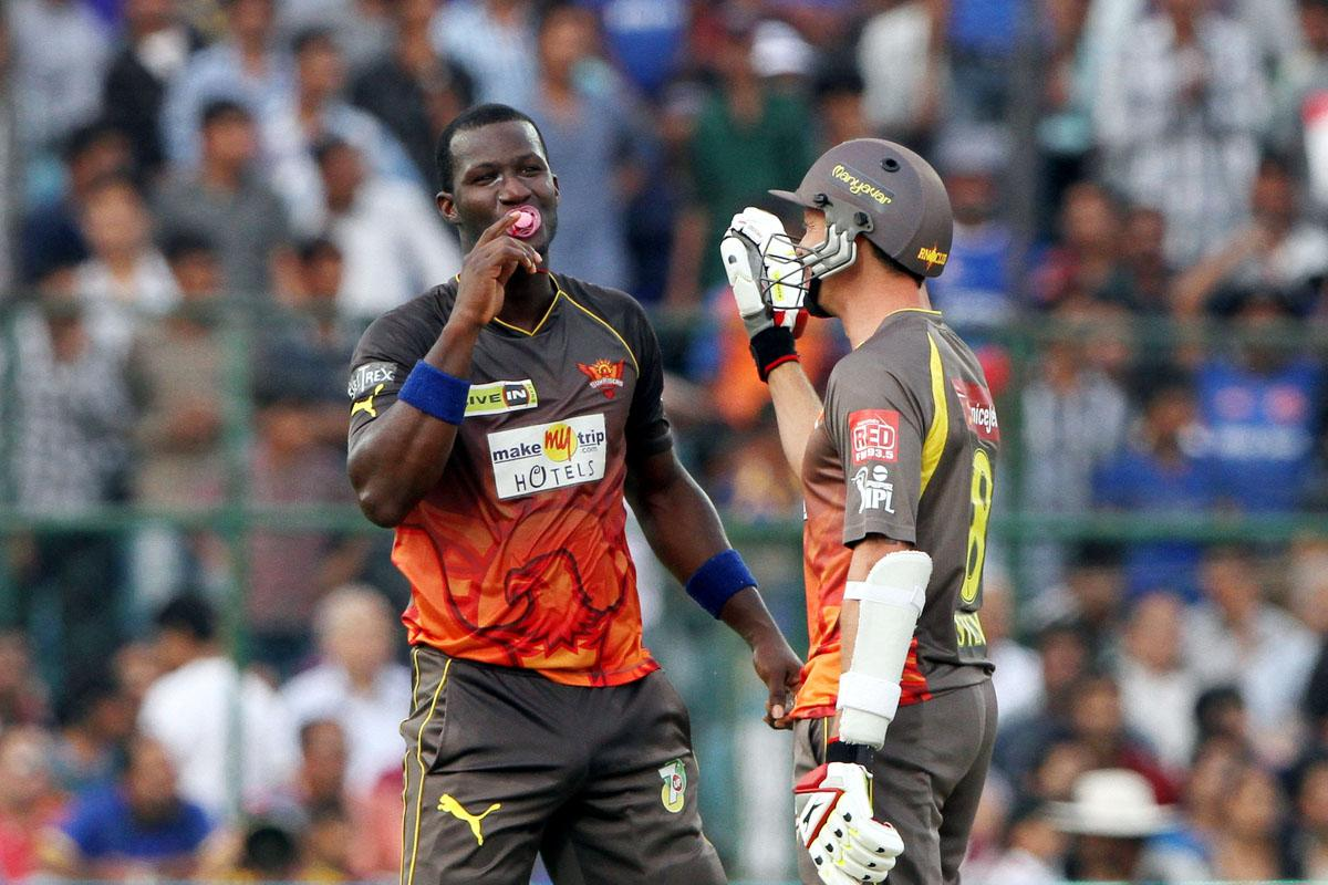 Sunrisers Hyderabad Player Darren Sammy celebrates after scoring a half century with Dale Steyn during match 36 of the Pepsi Indian Premier League ( IPL) 2013  between The Rajasthan Royals and the Sunrisers Hyderabad  held at the Sawai Mansingh Stadium in Jaipur on the 27th April 2013. (BCCI)