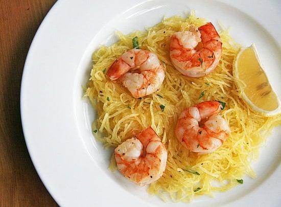 """<p>Pasta without the carb overload? Sign me up! This <a href=""""https://www.popsugar.com/fitness/Shrimp-Spaghetti-Squash-Recipe-25681124"""" class=""""link rapid-noclick-resp"""" rel=""""nofollow noopener"""" target=""""_blank"""" data-ylk=""""slk:shrimp and spaghetti squash"""">shrimp and spaghetti squash</a> seems too good to be true.</p>"""