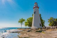 """<p>Lake Erie is the fourth-largest lake, by surface area, of the five Great Lakes. <a href=""""https://www.clevelandmetroparks.com/parks/visit/parks/lakefront-reservation/edgewater-beach"""" rel=""""nofollow noopener"""" target=""""_blank"""" data-ylk=""""slk:Edgewater Beach"""" class=""""link rapid-noclick-resp"""">Edgewater Beach</a> is a hidden gem that offers sandy beaches, an ice cream stand, swimming, boating, and more. It's a vacation for nearby city-dwellers or anyone who just wants to experience Cleveland and take a break from the hustle and bustle of the city.</p>"""